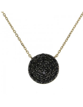 Black diamond pave set disc necklace in 9 K gold
