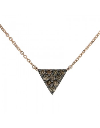 Collier triangle pavé diamants bruns en or rose