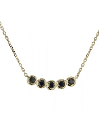 Bezel-set black diamonds necklace in 9 K gold