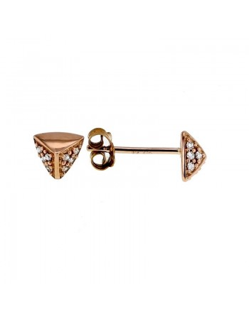 Boucles d'oreilles star w facettees pavees de diamants en or rose