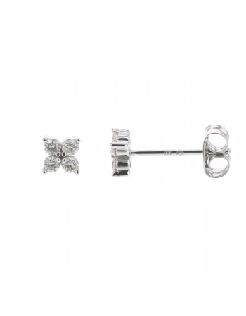 Boucles d'oreilles trèfles diamants en or blanc