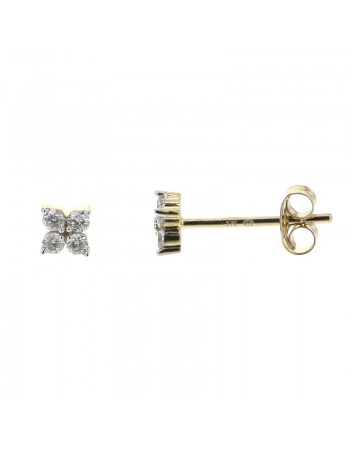 Diamond set clover earrings in 9 K gold