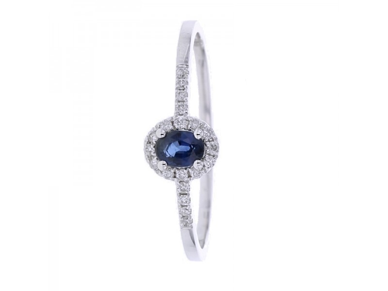 Sapphire solitaire diamond sided ring in 9 K gold
