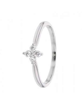 Clover 4 diamonds ring in 9 K gold