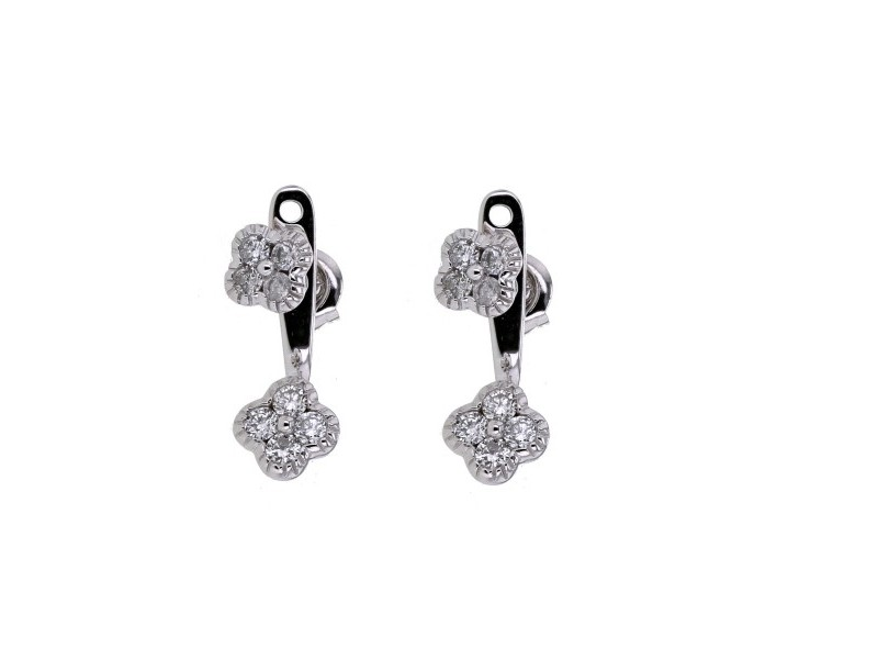 Clover pave set diamond jacket earrings in 18 K gold