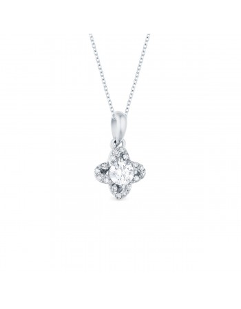 Diamond sided solitaire pendant in 18 K gold