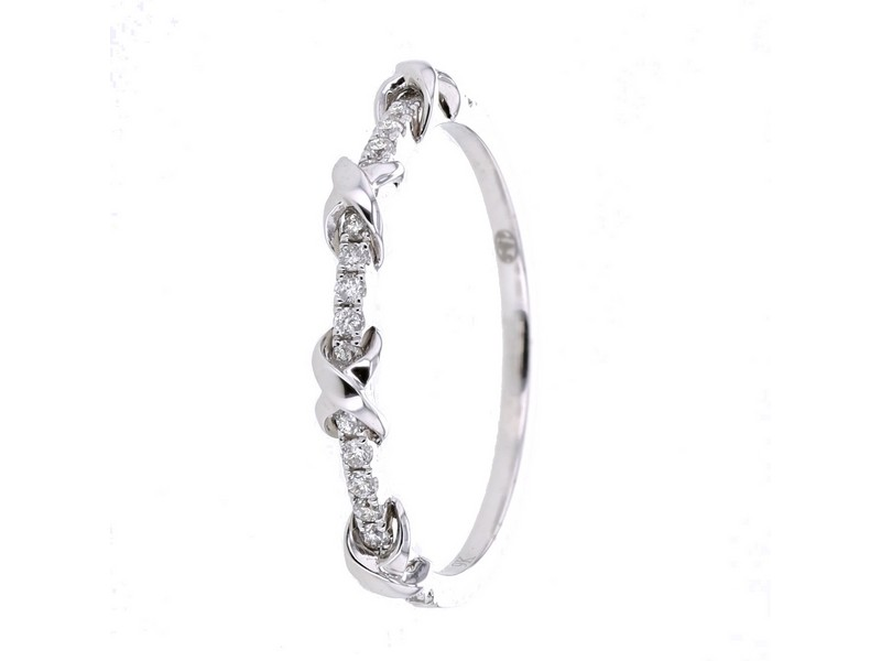 Bague alliance diamants croisillons en or blanc