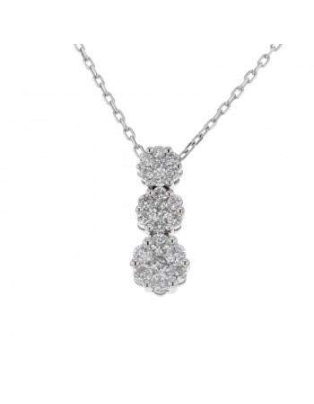 Three stone shape cluster diamond neckalce in 9 K gold