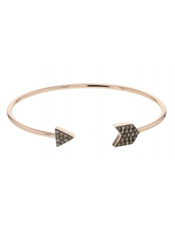 Bracelet canne triangles pavé diamants bruns en or rose
