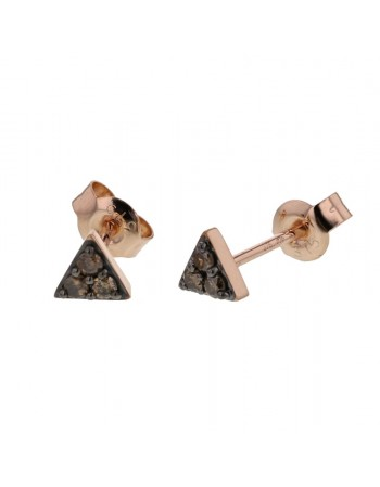 Brown diamond set triangle earrings in 9 K gold