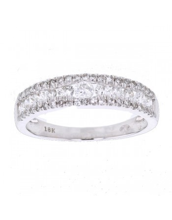 Bague alliances rail et diamants sertis grains en or blanc