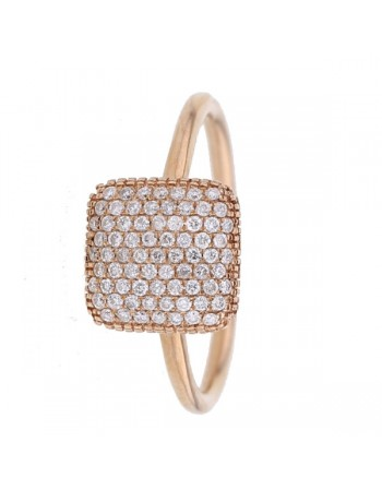Pave set square cushion ring in 9 K gold