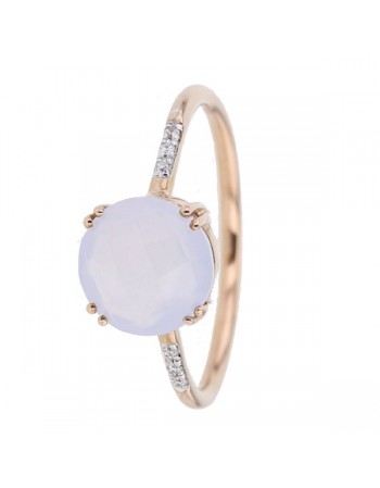 Square chalcedony and diamond ring in 9 K gold