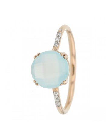 Square green chalcedony and diamond ring in 9 K gold