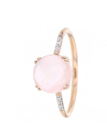 Square pink quartz and diamond ring in 9 K gold