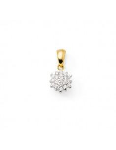 Pendentif chou rond diamants en or jaune