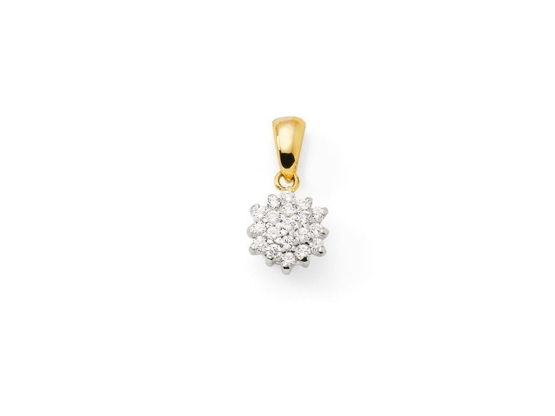 Cluster multi-stone diamond pendant in 18 K gold
