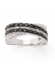 Bague rails croisés diamants noirs et blancs en or blanc