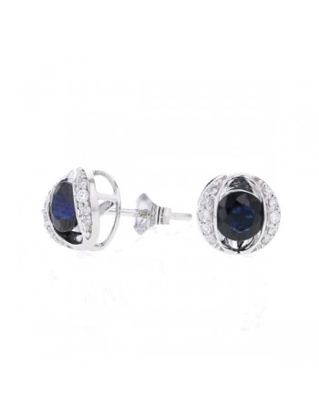 Sapphire and diamonds earrings in 9 K gold