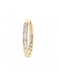 Demi-alliance diamants sertis en rail en or jaune