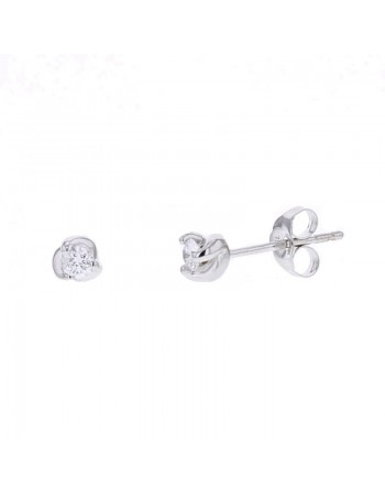 Twist diamond solitaire earrings in 18 K gold