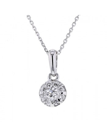 Multi-pierre illusion set diamond necklace in 18 K gold