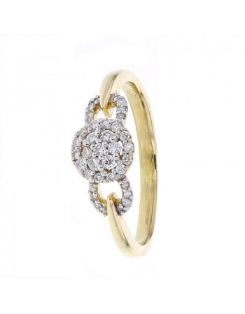 Empire style diamond set ring in 18 K gold