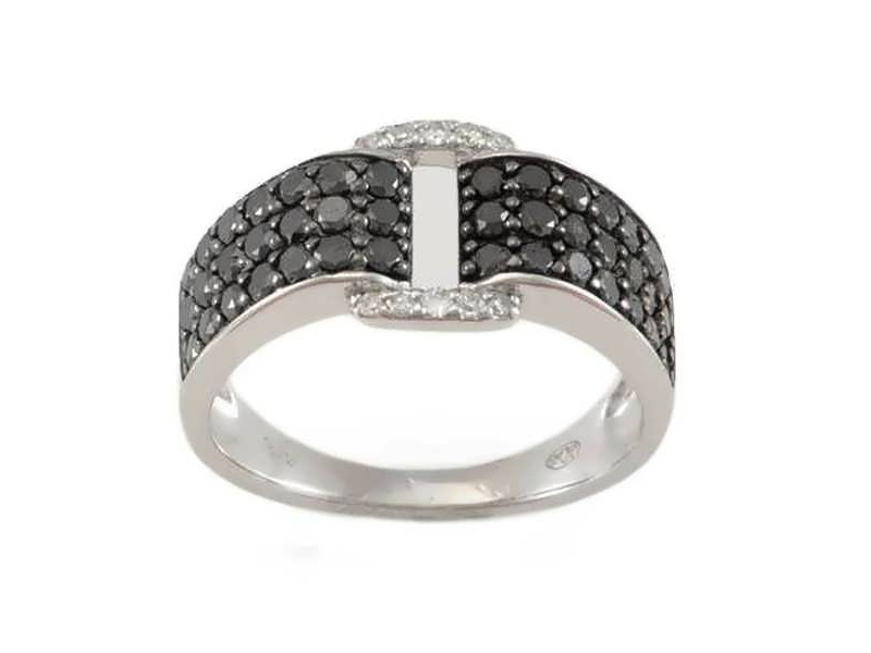 Pave set black and white diamonds ring in 18 K gold