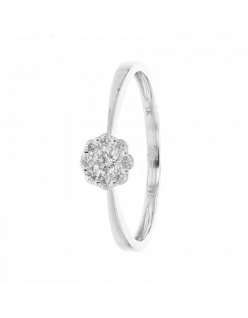 Bague multi-pierres illusion solitaire diamants en or blanc
