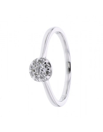 Bague ronde diamants en or blanc
