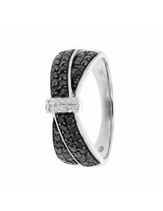 Bague pavé ajouré diamants noirs et blancs en or blanc