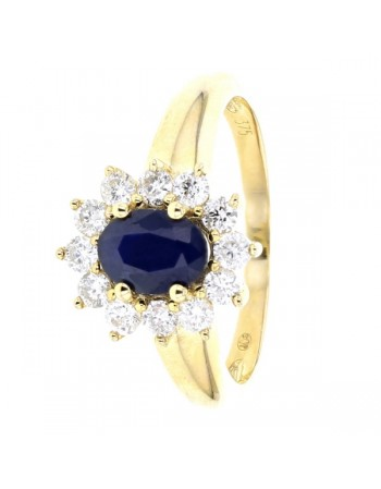 Classic sapphire and diamond halo ring in 9 K gold