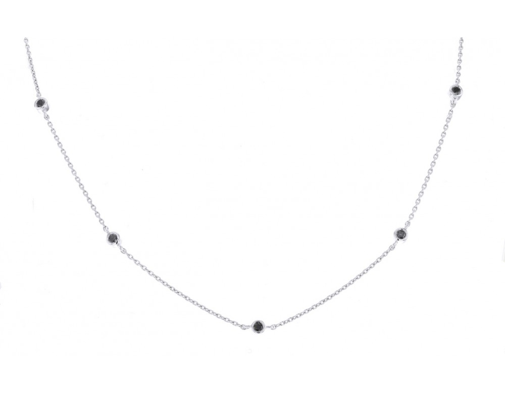 Exceptionnel Collier diamants noirs Collier solitaire diamant noir 3 griffes YE69