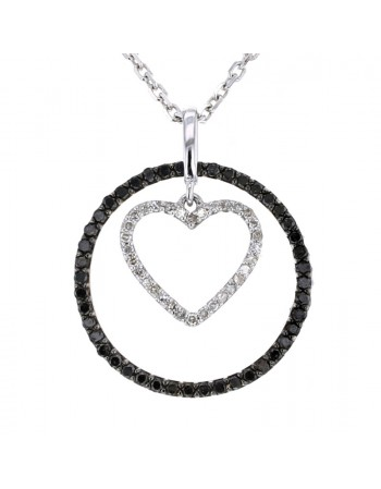 Black diamond round frame and heart shape white diamond pendant in 18 K gold