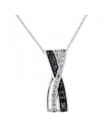 Interlacing black and white diamonds pave set pendant in 9 K gold