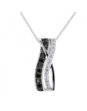 Black and white pave set diamond pendant in 9 K gold