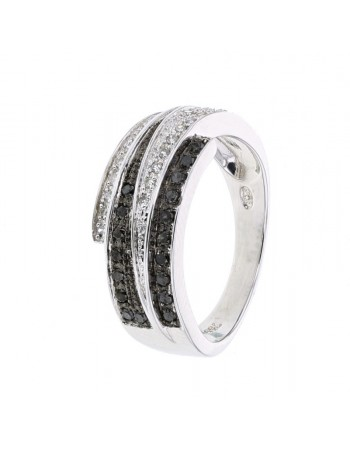 Ring large band with black and white diamonds in 18 K gold