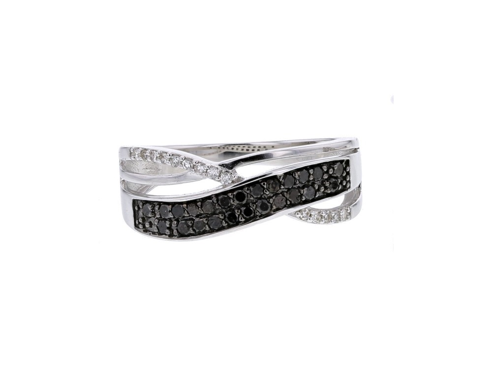 diamond engagement ring pave set ring with black and white
