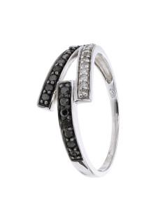 Bague mèches pavé diamants noirs et blancs en or blanc