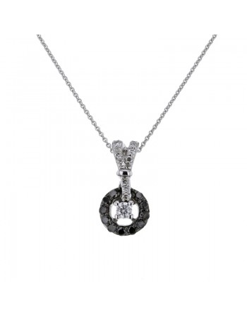 Black and white diamond pendant in 9 K gold