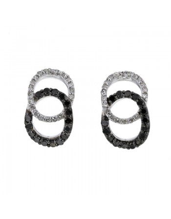 Pave set black and white diamond earrings in 9 K gold