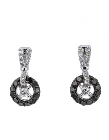 Pave set black and white diamond round shape earrings in 9 K gold
