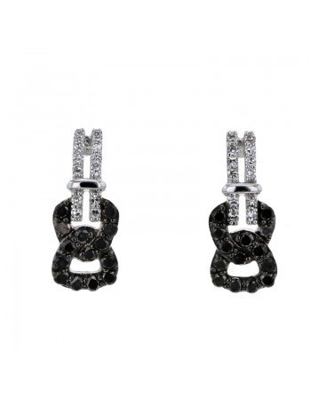 Pave set black and white diamond fantasy shape earrings in 9 K gold