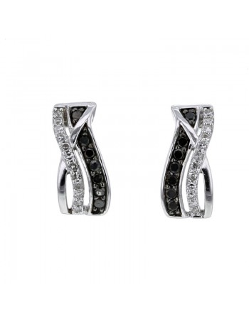 Black and white pave set diamond earrings in 9 K gold