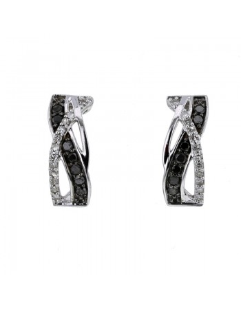 Interlacing pave set black and white diamonds earrings in 9 K gold