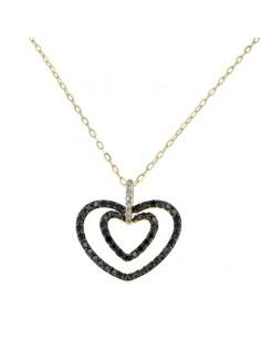 Pendentif 2 coeurs diamants noirs en or jaune