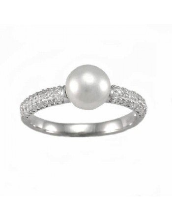 Silver and diamonds ring - silver 925/1000: 1.57 Gr