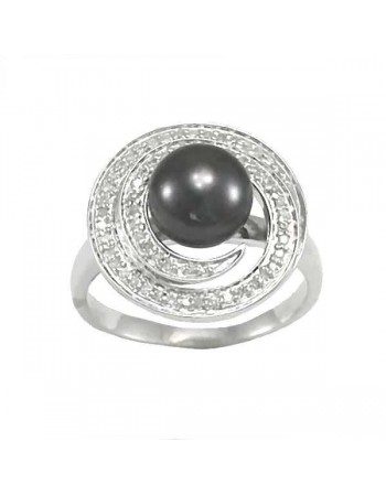 Silver and diamonds ring - silver 925/1000: 4.16 Gr