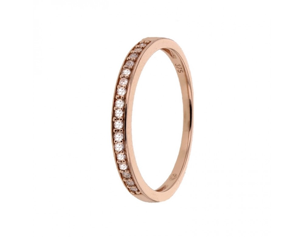 Bague alliance fine avec diamants sertis grains en or rose ... 0e1139542997