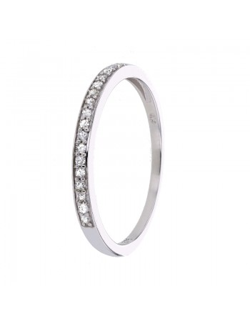 Delicate wedding ring with pave set diamonds in 9 K gold